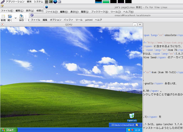 windows XP in Vine Linux 5.1, by means of QEMU