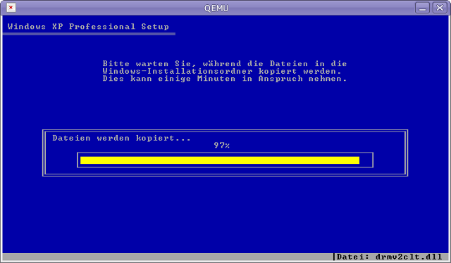 windows XP installation in Vine Linux 5.1 (QEMU)